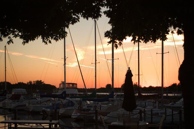 Zonsondergang bij de Club van het Jacht stock fotografie