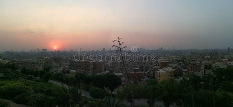 Zonsondergang bij de Oude Stad van Kaïro royalty-vrije stock afbeeldingen