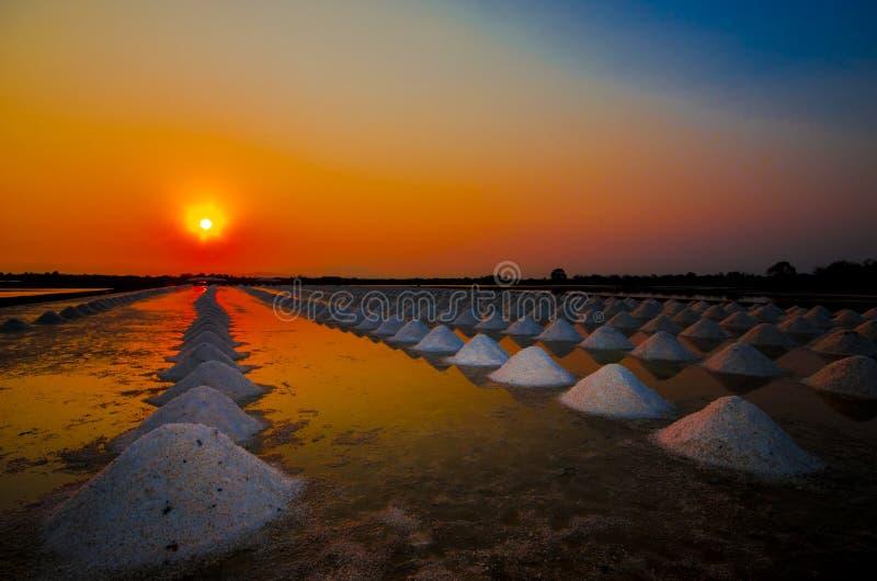 Zonsondergang bij gezouten landbouwbedrijf royalty-vrije stock foto's