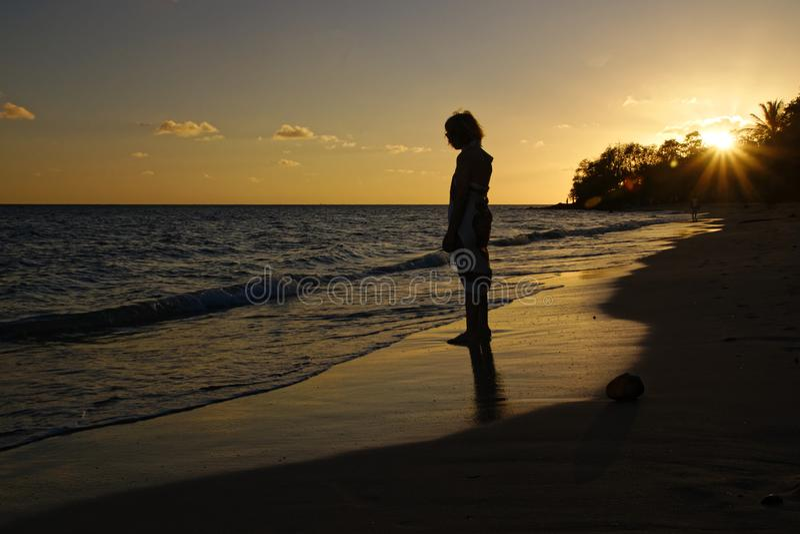 Zonsondergang bij het Franse carribean eiland, Martinique royalty-vrije stock foto's
