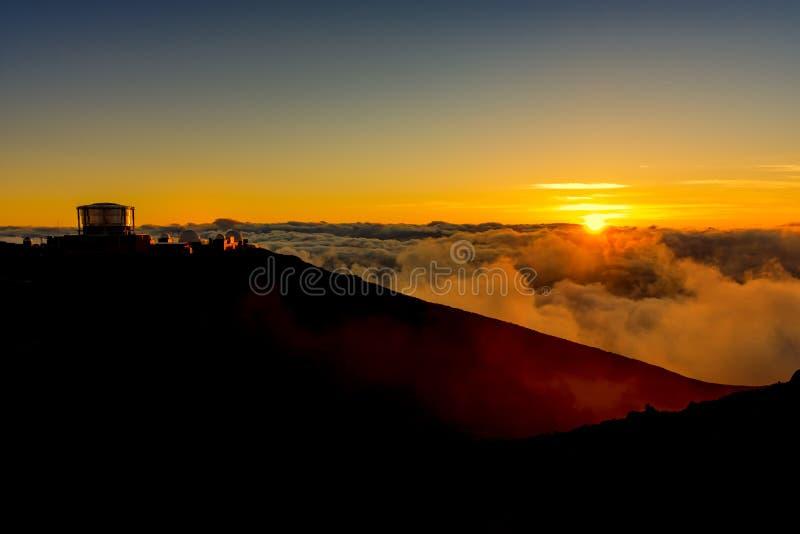 Zonsondergang bij het Nationale Park Maui Hawaï de V.S. van Haleakala royalty-vrije stock afbeelding
