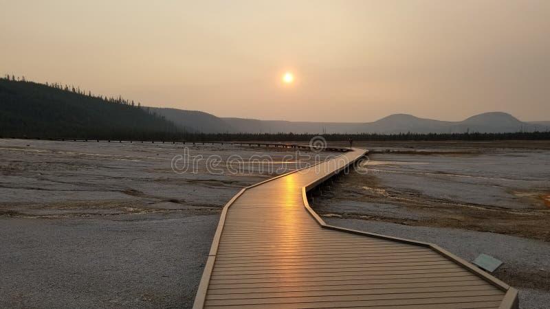 Zonsondergang bij het Nationale Park van Yellowstone royalty-vrije stock foto