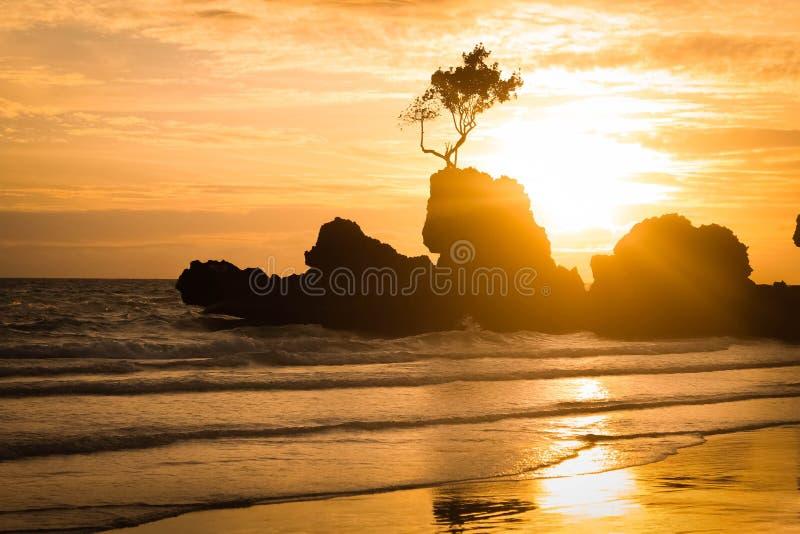 Zonsondergang bij het strand stock afbeelding
