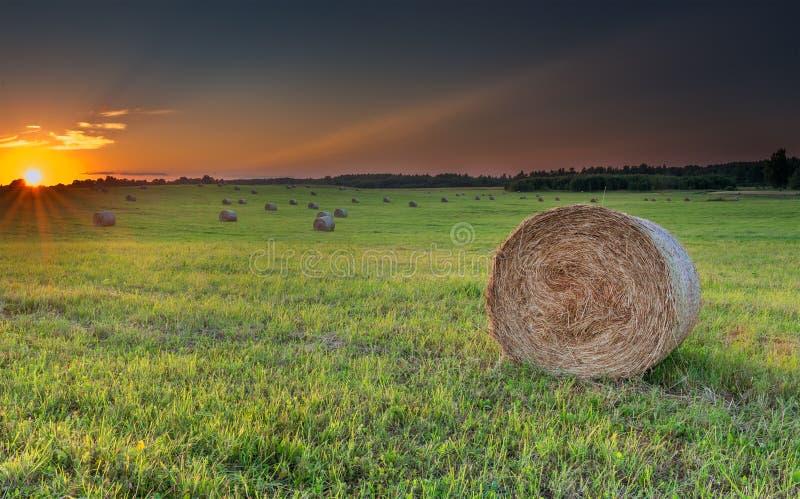 Zonsondergang bij heuvelig gebied met broodjes van hooibergen stock fotografie