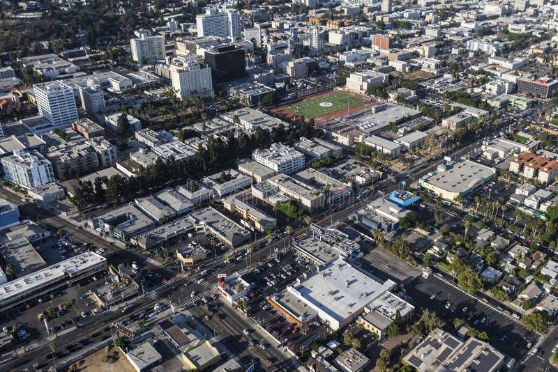 Zonsondergang bij La Brea Los Angeles Aerial royalty-vrije stock foto's