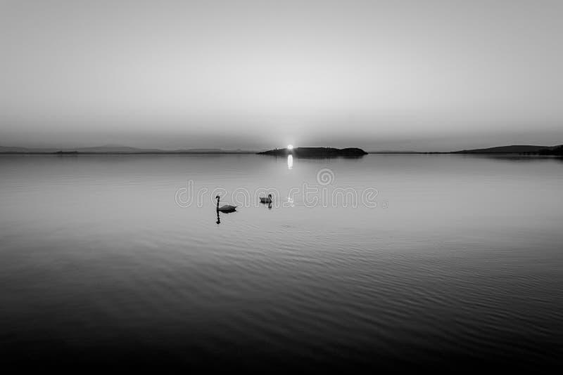 Zonsondergang bij Meer Trasimeno stock foto's