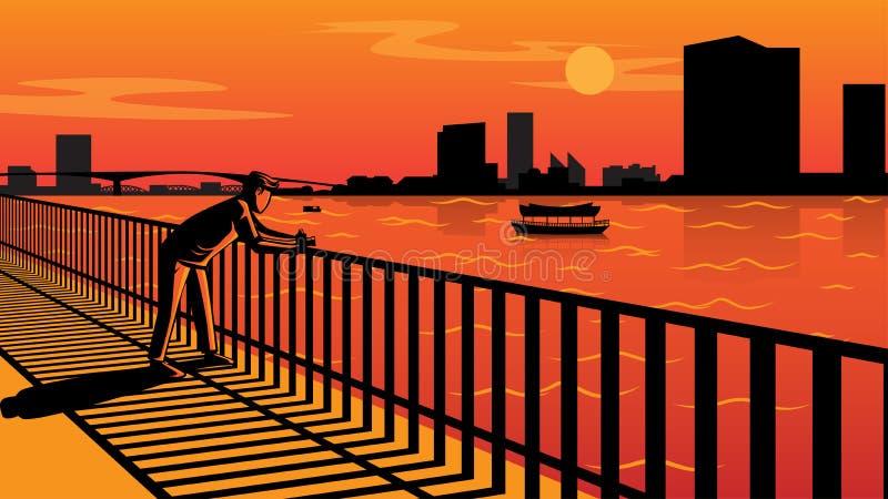 Zonsondergang bij rivieroever vector illustratie