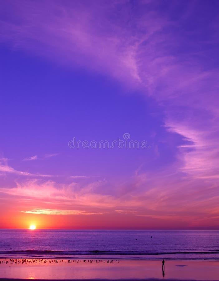 Zonsondergang bij strand stock afbeelding