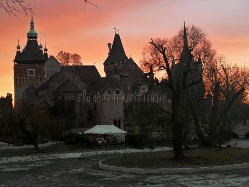 Zonsondergang in Boedapest stock foto