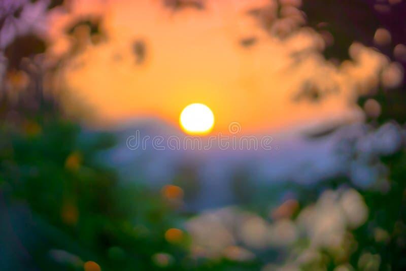 Zonsondergang in bokeh stock foto