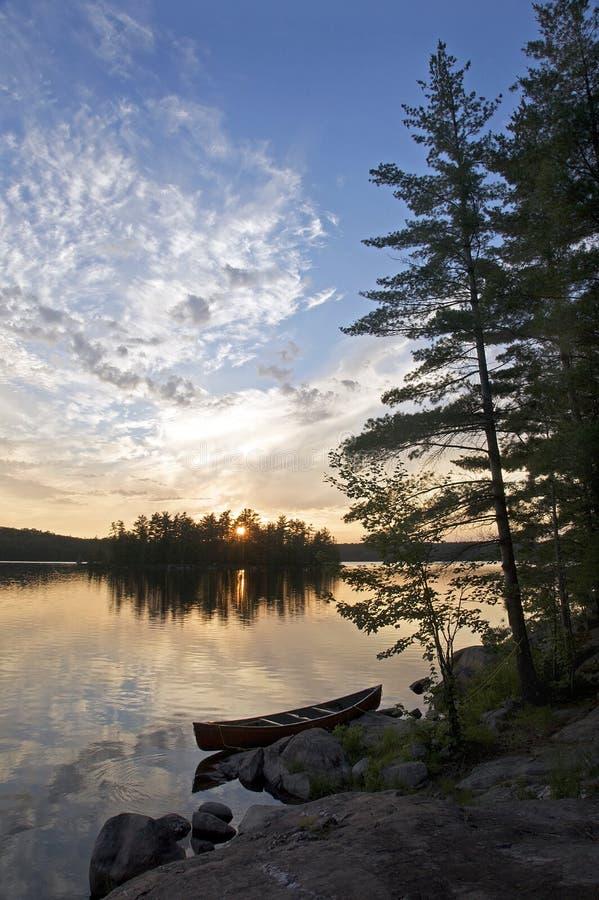 Zonsondergang - Bon Echo Provincial Park, Ontario stock foto