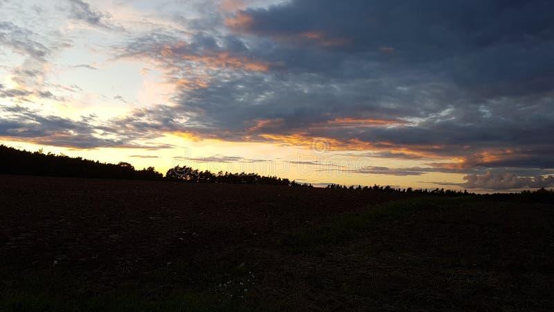 Zonsondergang boswolken stock foto