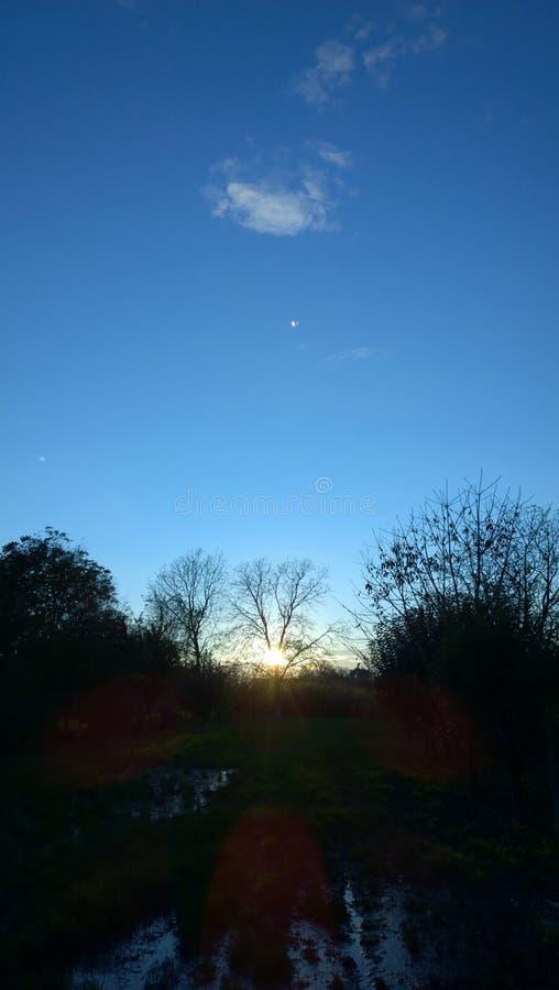 Zonsondergang boven een weide stock afbeeldingen