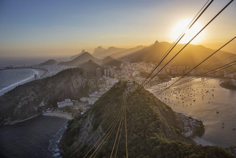 Zonsondergang Brazilië, Rio de Janeiro, Botafogo, Copacabana van Sugarl royalty-vrije stock foto