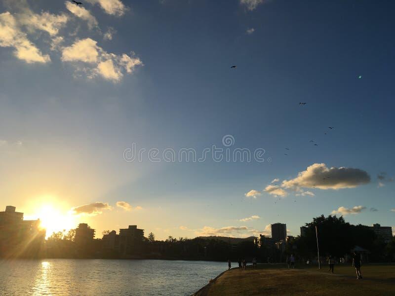 Zonsondergang in Brisbane royalty-vrije stock afbeeldingen