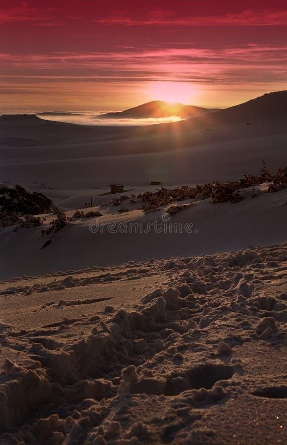 Zonsondergang in Bucegi   stock afbeeldingen