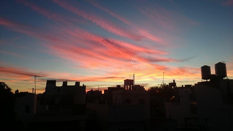 Zonsondergang in Buenos aires stock fotografie