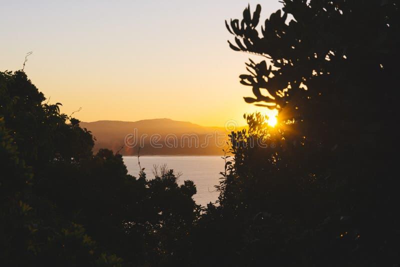 Zonsondergang in Byron Bay stock fotografie