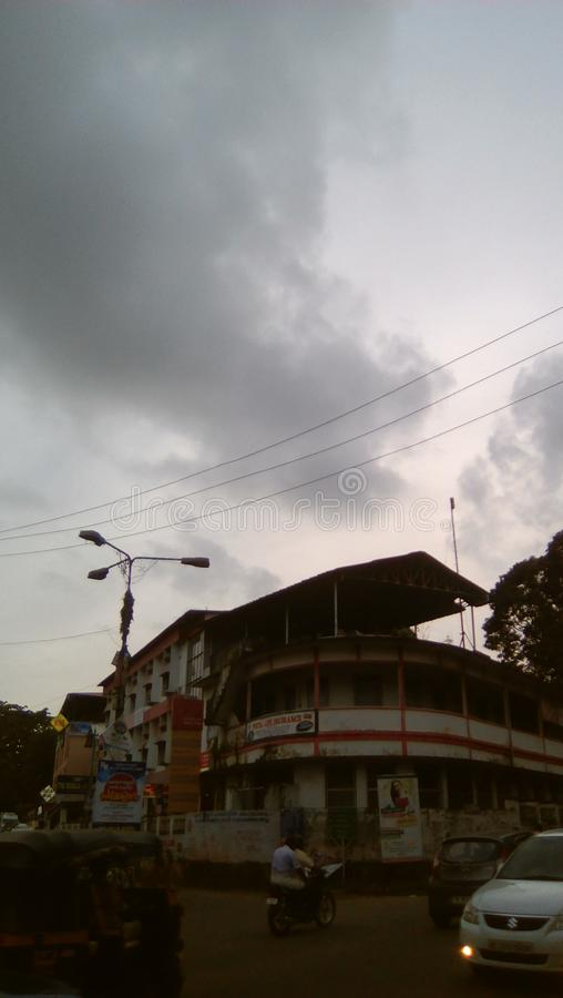 Zonsondergang in Changanacherry in Kerala royalty-vrije stock fotografie