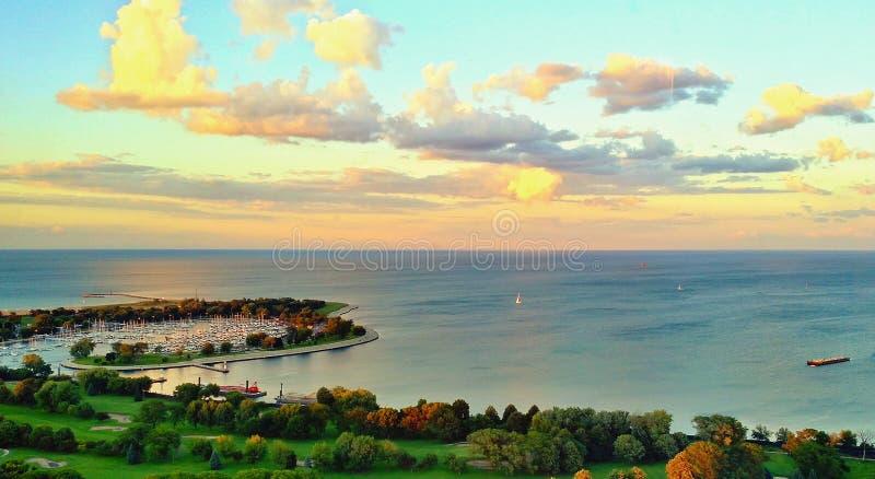 zonsondergang Chicago royalty-vrije stock fotografie