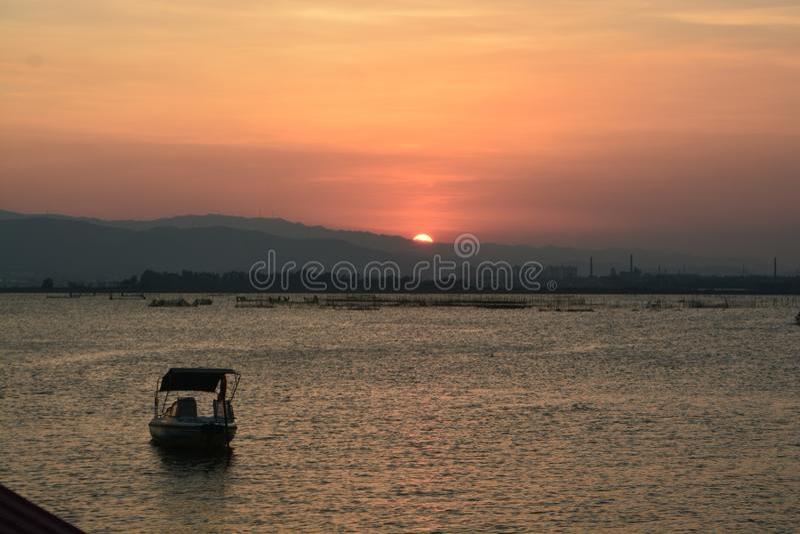 Zonsondergang in China royalty-vrije stock fotografie