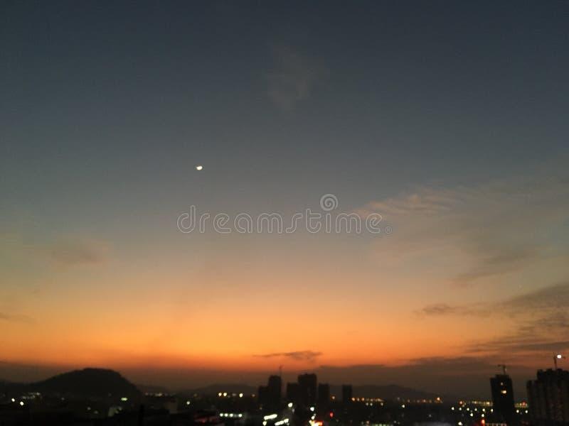 Zonsondergang in China stock afbeeldingen