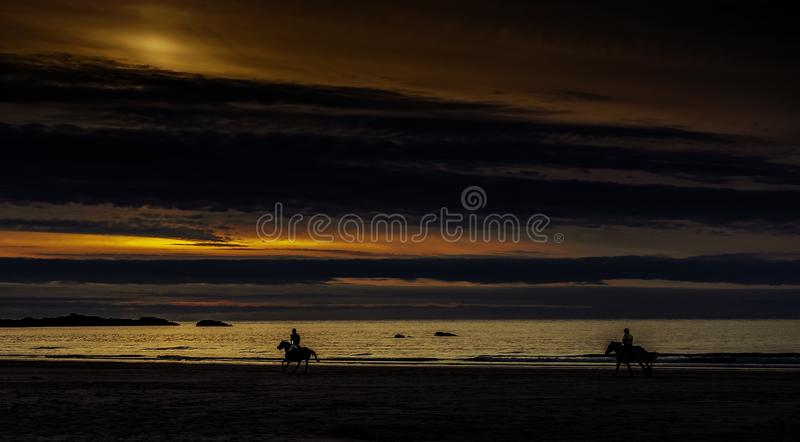 Zonsondergang in Cornwall met paarden/St Ives stock foto