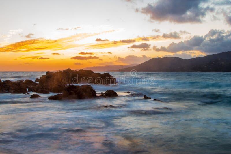 Zonsondergang in Corsica royalty-vrije stock foto