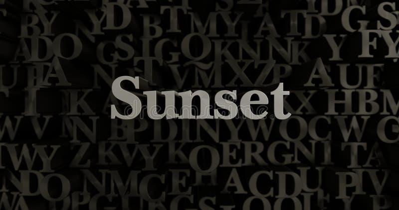 Zonsondergang - 3D teruggegeven metaal gezette krantekopillustratie royalty-vrije illustratie