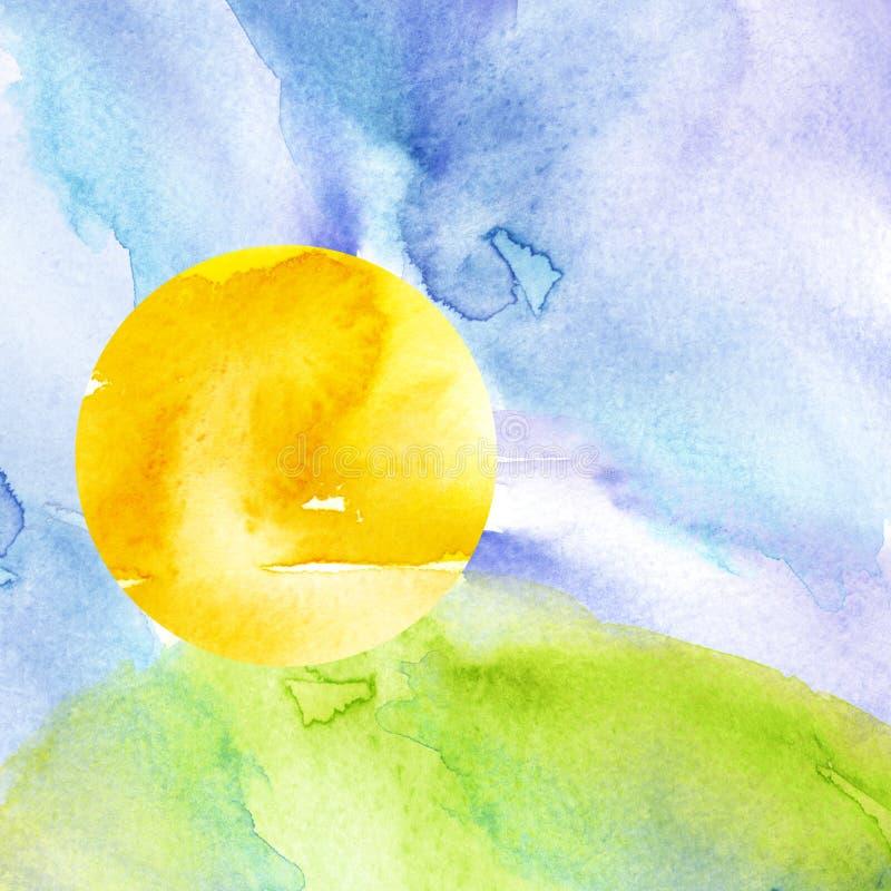 Zonsondergang, dageraad, gele, oranje zon, blauwe hemel met wolken Groen gras, heuvel royalty-vrije illustratie