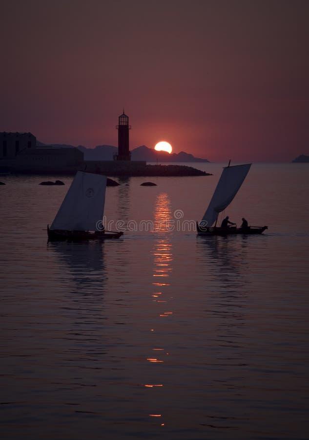 Zonsondergang in de Baai van Vigo stock foto