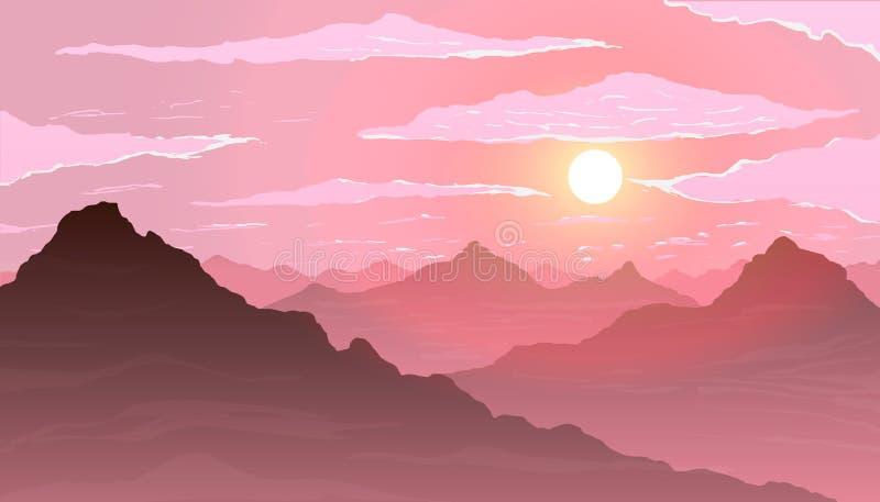 Zonsondergang in de bergen royalty-vrije illustratie