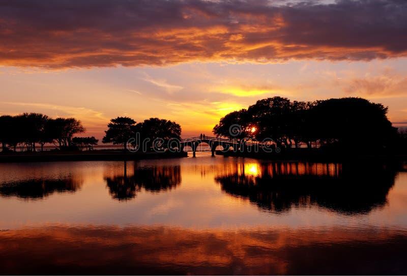 Zonsondergang in de BuitenBanken, Noord-Carolina stock afbeelding