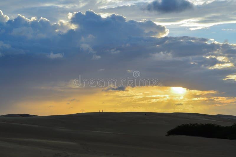 Zonsondergang in de Duinen stock foto