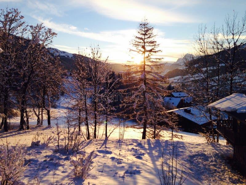 Zonsondergang in de Franse Alpen royalty-vrije stock afbeelding