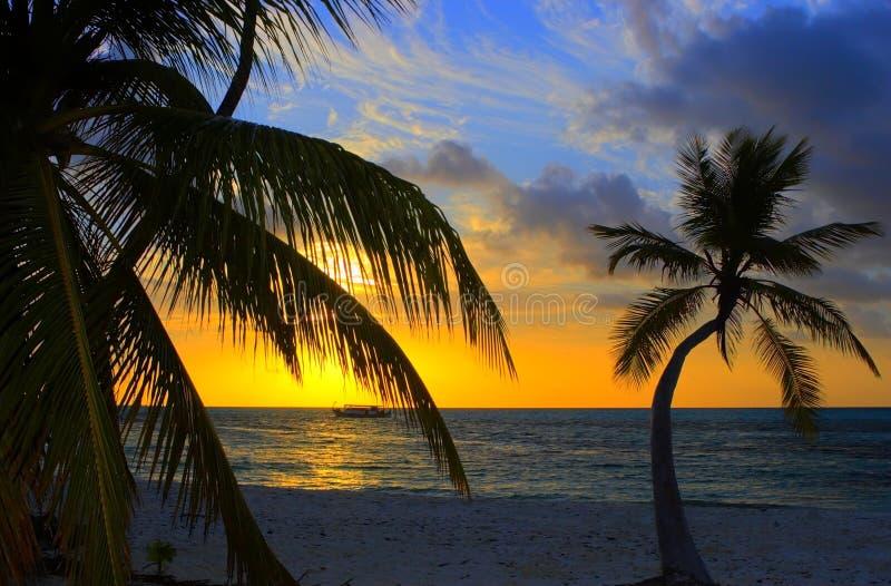 Zonsondergang in de Indische Oceaan royalty-vrije stock fotografie
