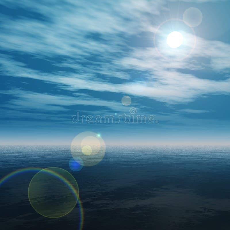 Zonsondergang in de oceaan, de zonsopgang over het overzees, het licht over het overzees stock illustratie