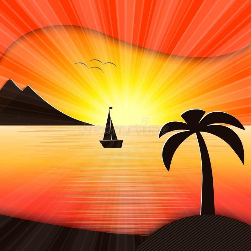 Zonsondergang in de overzeese illustratie stock illustratie