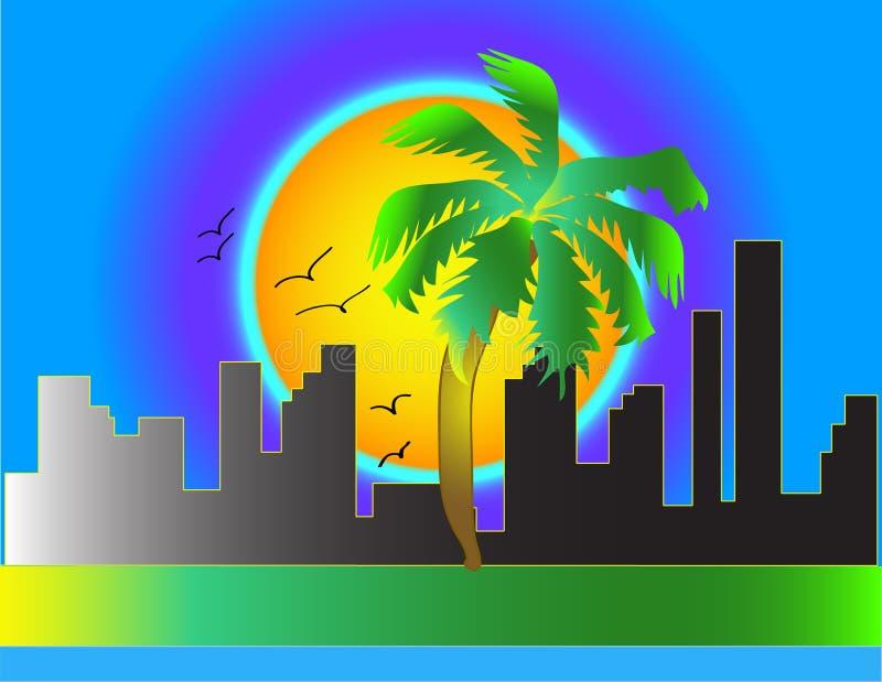 Zonsondergang in de stad stock illustratie