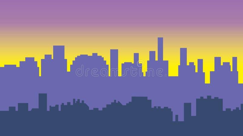 Zonsondergang in de stad Cityscape silhouetzonsopgang vector illustratie