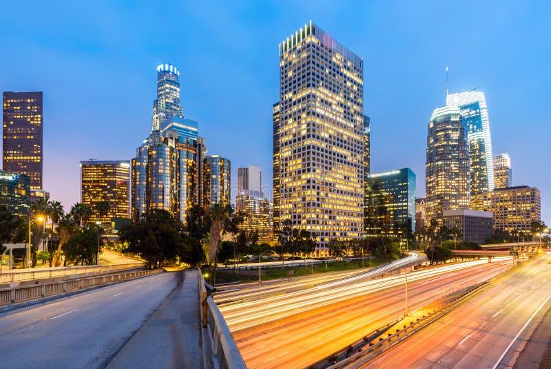 Zonsondergang de Van de binnenstad van Los Angeles royalty-vrije stock afbeeldingen