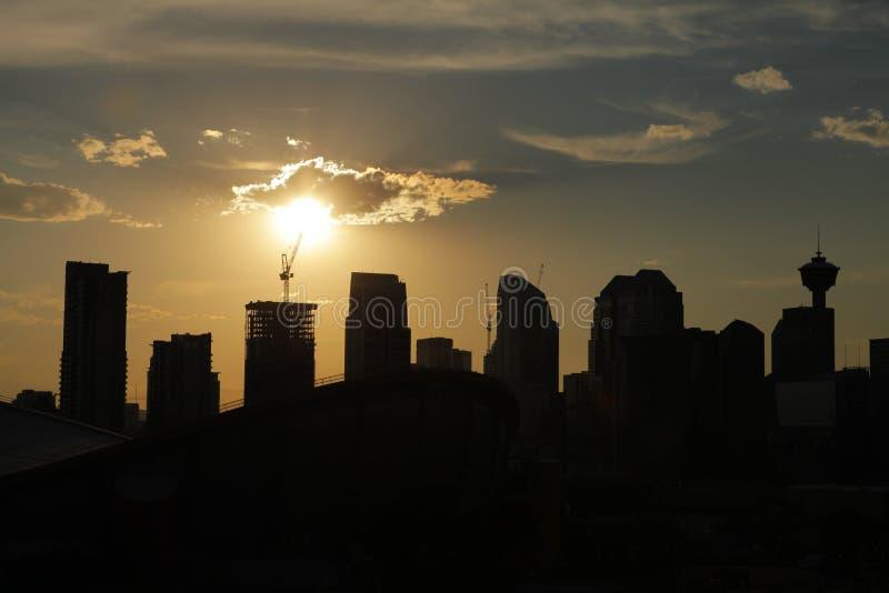 Zonsondergang de van de binnenstad van Calgary 2012 royalty-vrije stock foto's