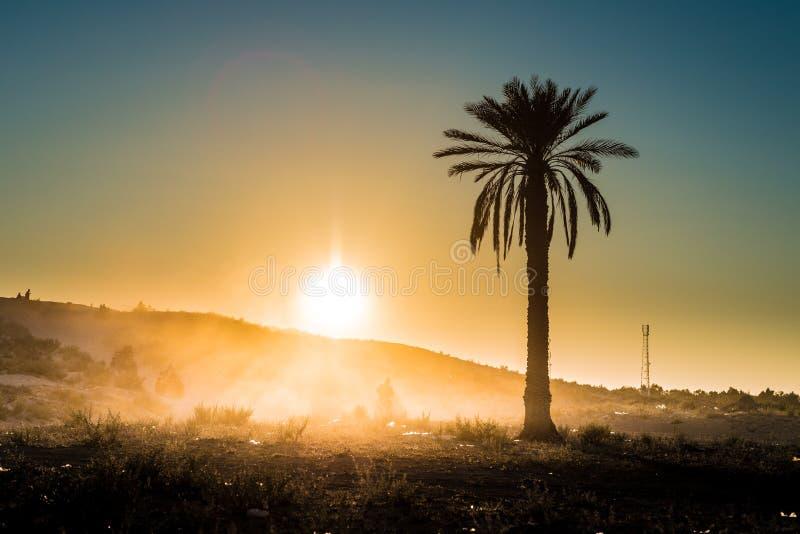 Zonsondergang in de woestijn in Tunesië stock foto's