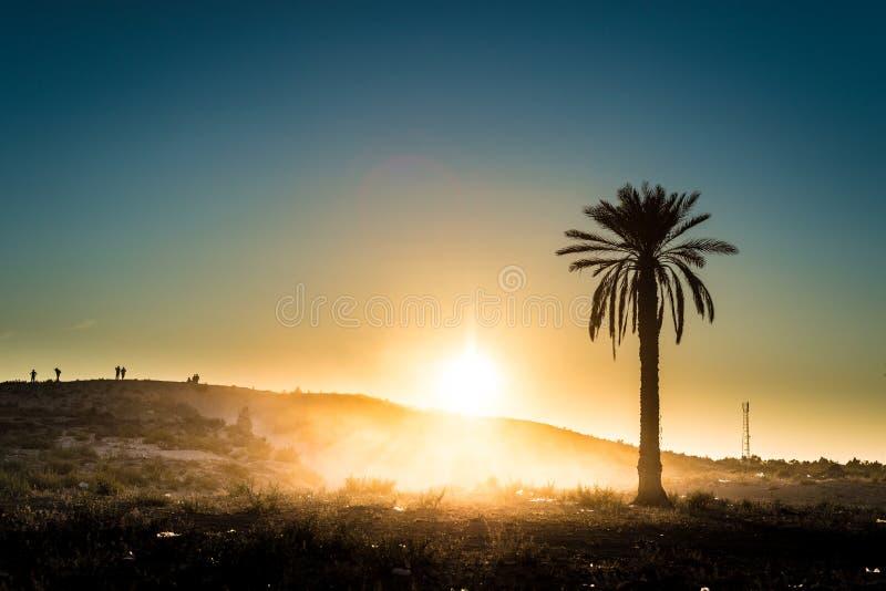 Zonsondergang in de woestijn in Tunesië royalty-vrije stock afbeeldingen