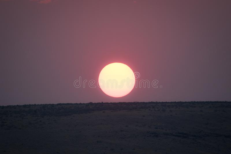 Zonsondergang in de Woestijn van Oregon stock afbeelding