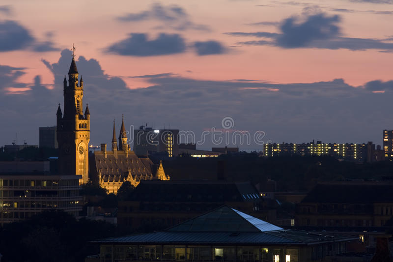 Zonsondergang in Den Haag royalty-vrije stock afbeeldingen