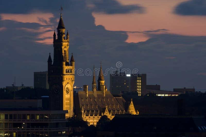 Zonsondergang in Den Haag royalty-vrije stock afbeelding
