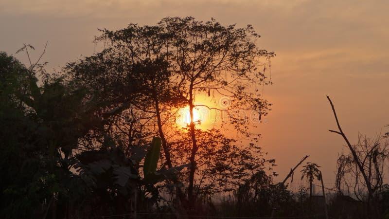 Zonsondergang in Diabari stock afbeelding