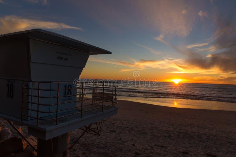 Zonsondergang dichtbij San Diego, Californië stock foto's