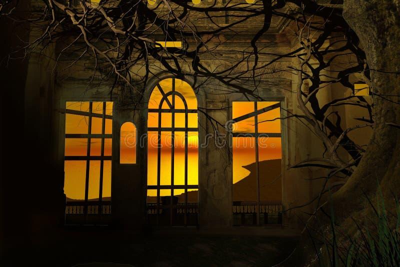 Zonsondergang door een geruïneerde kamer vector illustratie